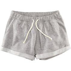 H&M Sweatshirt shorts ($11) ❤ liked on Polyvore featuring shorts, bottoms, pants, pajamas, grey marl, gray shorts, grey shorts, micro shorts, h&m shorts and cotton shorts