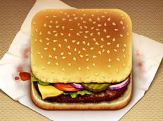 I really like the slight liberty in the picture of making the cheeseburger the traditional cube shape of app icons.  That small touch adds some playfulness to the realistic design.  The two parts that attracted me the most are the texture of the burger patty and the grease stains on the paper.  The texture is elaborate without being distracting.