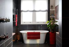 Inspiring Contemporary Home Designs : Inspiring Contemporary Home Designs With Black Red Bathroom Wall And White Bathtub And Window Curtain ...