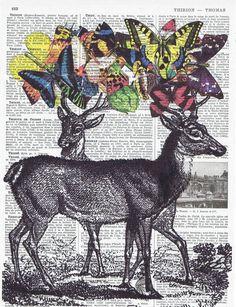 Deer Butterflies Collage Fantasy Antique Book