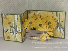 Some of the items used to create this Z-fold card are: STAMPS: Daisy Delight. PAPER: Always Artichoke CS, So Saffron CS, Delightful Daisy DSP. INK: So Saffron, Early Expresso, Always Artichoke. OTHER: Big Shot, Wood Crate Framelits, Daisy Punch, glue dots.