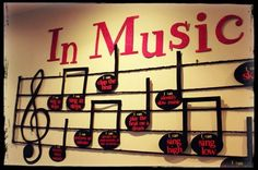 "100 ""I Can"" Music Standards Statements made in a musical way for you to display in your classroom year after year! Maybe I can create something like this for art School Displays, Classroom Displays, Music Classroom, Classroom Decor, Choir Room, Music Bulletin Boards, Band Rooms, Music School, Class Decoration"