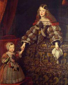 La infanta Margarita de España, emperatriz del Sacro Imperio Romano, con su hija María Antonia