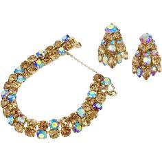Sherman Champagne and Blue Aurora Borealis Bracelet & Earrings