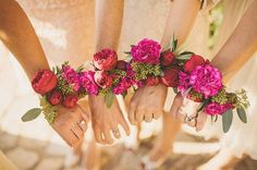 Pink & Red Peony Bridesmaid Corsages