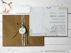 Convite de casamento com desenho de passaros em alto relevo e envelope kraft - AboutLove