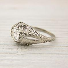 $8,000 Image of 1.01 Carat Old European Cut Vintage Diamond Engagement Ring