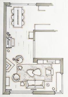 Hand getekende schets Van der Donk interieur