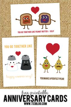 Free Printable Anniversary or Wedding Cards