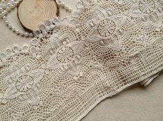Beige Crocheted Antique Lace Ecru Cotton Lace Trim Retro Design Lace 1 Yard on Etsy, $5.46 CAD