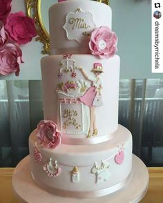 Baby shower cake Pretty Cakes, Beautiful Cakes, Amazing Cakes, Baby Reveal Cakes, Cool Cake Designs, Shower Bebe, Cakes For Women, Girl Cakes, Baby Cakes