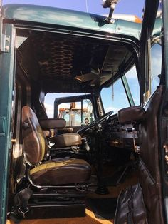 used 1986 Autocar Tractor, sleeper Neway Tag Axle(leather interior in excellent condition), gallon polished aluminum tanks, Air ride Tractors For Sale, Truck Interior, Air Ride, Semi Trucks, Leather Interior, Diesel, The Incredibles, Trailers, Vehicles