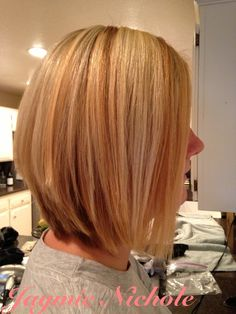 Blonde highlights and A-line cut
