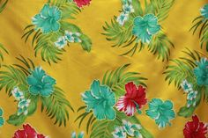 Big Hibiscus flowers with glittered leaves all over print Gold
