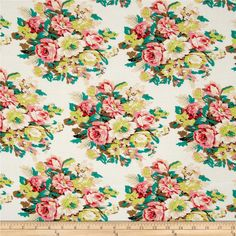 Rayon Challis Floral Ivory/Coral from @fabricdotcom  This rayon fabric has a beautiful fluid drape and soft hand. It is perfect for creating shirts, blouses, gathered skirts and flowing dresses with a lining. Colors include pink, olive, jade, lime, peach, black, and white.