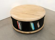 rotating bookshelf - Book lovers rejoice: Nayef Francis new rotating bookshelf design has you in mind. Francis' spinning library functions as both a table and a spinn. Unique Bookshelves, Wall Bookshelves, Bookshelf Design, Revolving Bookcase, Living Room Playroom, Be Design, Book Storage, Wooden Projects, Kids Decor
