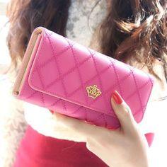 Wallet Long Design Faux Leather Lattice Style Clutch Crown Card Holder 8 Colors