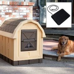 Dog Palace Insulated Tan Dog House with Floor Heater Best Small Dog Breeds, Best Small Dogs, Big Dogs, Large Dogs, Winter Dog House, Floor Heater, House Heater, Small Dog House, Puppy Palace