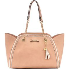 Jessica Simpson Collection Peach Winnie Tote ($45) ❤ liked on Polyvore featuring bags, handbags, tote bags, tote purses, jessica simpson tote bags, jessica simpson tote, jessica simpson purses and white tote bag
