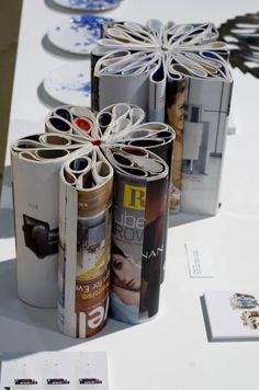 recycled magazine stools