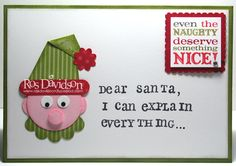 Elf made with SU! punches-very cute holiday card via Ros Davidson MMM# 21