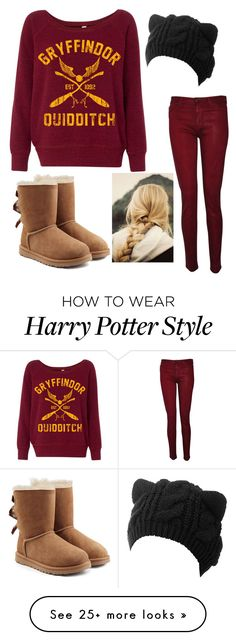 """Gryffindor"" by stellar-of-the-sky on Polyvore featuring Hudson and UGG"