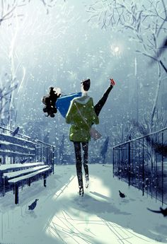 September snow day. Its actually going to be over a100 degrees here today so I thought Id draw a snow day image just in case it might make it happen.  Ok.. Holding my breath now.. is it snowing yet? now?.. come on. ?? #pascalcampion #whereareyoucolderweather?  - by Pascal Campion: http://ift.tt/2dwTMa7 -  ... Kunst / Art / Zeichnung / drawing / Digital Art / Illustration