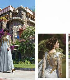 Buy Grey Embroidery net semi stitched party-wear-gowns party-wear-gown online
