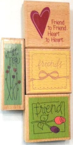 Rubber Stamp Lot 4 Four Friends Heart Just a Note Wood mount Crafting Studio G #StudioG #Background #artsandcraftsforadults