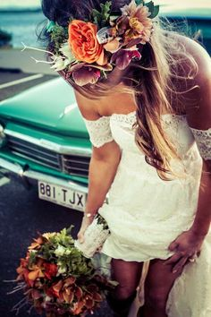 tropical bride / Flower crown / Grace Loves Lace wedding dress--Love this for a beach wedding! Flower Crown Bride, Bride Flowers, Lace Flowers, Wedding Flowers, Flower Crowns, Grace Loves Lace, Boho Wedding, Dream Wedding, Bohemian Beach Wedding Dress