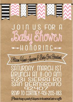 Picadilly Prints: Baby Girl Shower Banner Invite