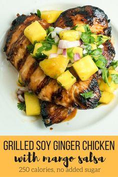 Grilled Soy Ginger Chicken with Mango Salsa - Slender Kitchen