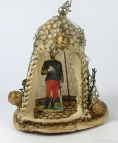 Antique German Dresden Christmas tree ornament ....a German Sentry,in a Tent.