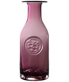 Pink Pansy Flower Bottle 265mm, Dartington Crystal