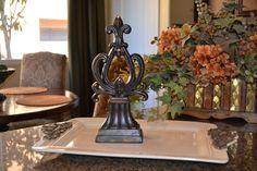 Decorative Resin Tabletop Accent Piece w/Cast Iron Fleur de Lis and Swarovski Crystal Accents