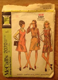 1969 A-line jumper McCalls 2070 misses' size 10 new sizing, sleeveless women's Timesaving Quickie sewing pattern 3 necklines, vintage OOP