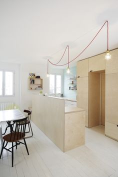 of the Week: A Compact Family Kitchen in Paris Paris kitchen remodel by Septembre Architects Lustre Industrial, Industrial Table, Industrial Furniture, Vintage Industrial, Plywood Interior, Plywood Kitchen, Plywood Cabinets, Paris Kitchen, Kitchen Cabinet Pulls