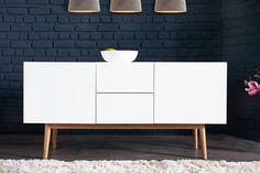 Design Sideboard LISBOA Weiß 150cm Mit Eiche Füßen Kommode Board  Aufbewahrung: Küche U0026 Haushalt