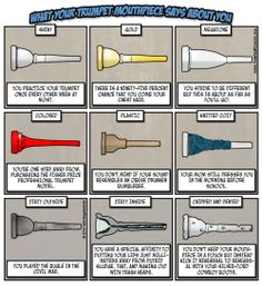 """veggieriotgrrrl: """" That's right, I'm a band nerd… Can you guess which mouthpiece is mine? Marching Band Jokes, Marching Band Problems, Flute Problems, Music Jokes, Music Humor, Funny Music, Funny Band Memes, Trumpet Mouthpiece, Band Rooms"""