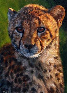 Cheetah cub painting - print - Jason Morgan wildlife art by Jason Morgan Wildlife Paintings, Wildlife Art, Animal Paintings, Art Paintings, Big Cats Art, Cat Art, Amazing Animal Pictures, Cheetah Cubs, African Animals