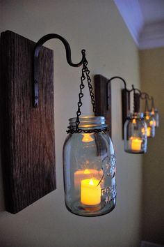 Mason Jar Candle Sconces made from Reclaimed barn wood. Mason Jar Candle Sconces made from Reclaimed barn wood. Mason Jar Wall Sconce, Mason Jar Candles, Candle Sconces, Hanging Mason Jars, Handmade Furniture, Diy Furniture, Furniture Design, Industrial Furniture, Home Crafts