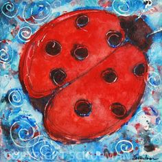 Ladybug Art, Lady Bug Decor, picture Watercolor painting 12x12 Love Bug series turquoise blue with red. $144.00, via Etsy.