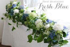 会場装花について スタイル別 会場装花 会場装花 実績写真 Fresh Blue フレッシュブルー〜白とブルー…