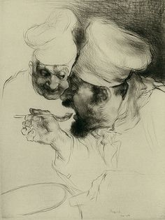 Edmund Blampied, R.E. 1886-1966.  /  Le Chef d'oeuvre (The Two Chefs). 1930-31. Drypoint. Appleby 145. 11 3/4 x 9