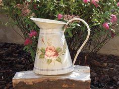 Duży Metalowy Dzban Malowany W Róże Prowansja Shabby Chic / Metal Pitcher Painted in Provence Roses