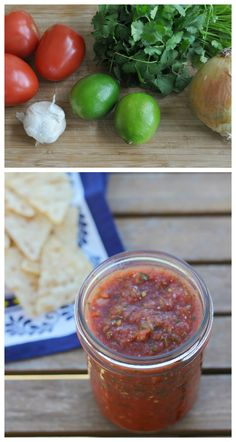 Perfect Homemade Cilantro Lime Salsa Recipe-- the most delicious and easy salsa recipe.  Perfect hostess gift!
