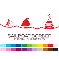 Sailboats Border Clipart for Personal & Commercial by coloryourway