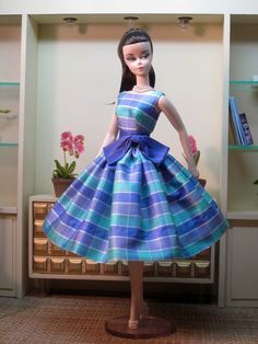 Ocean Plaid Silk Party Dress by Bellissimacouture on Etsy