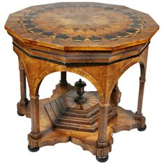 View this item and discover similar for sale at - Dodecagonal top with overall parquetry inlay with ebony and fruitwoods ,moorish influenced base with central burl mulberry stepped section with finial,shaped Art Furniture, Furniture Styles, Antique Furniture, Furniture Design, Parquetry, Center Table, Home Deco, Antique Tables, Victorian