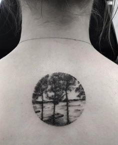 Circular Landscape Tattoo by Zeke Yip